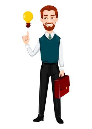 Erfolgreicher Geschäftsmann. Gut aussehender Geschäftsmann hat eine gute Idee. Fröhliche Zeichentrickfigur. Vektorillustration auf weißem Hintergrund