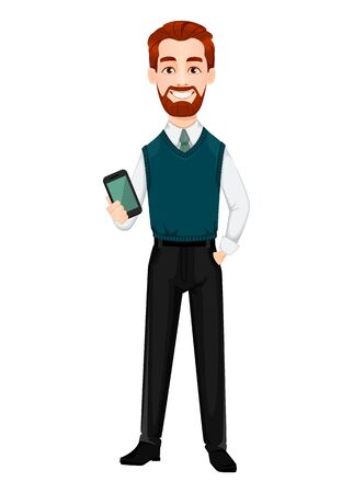 Successful business man. Handsome businessman holding smartphone. Cheerful cartoon character. Vector illustration on white background