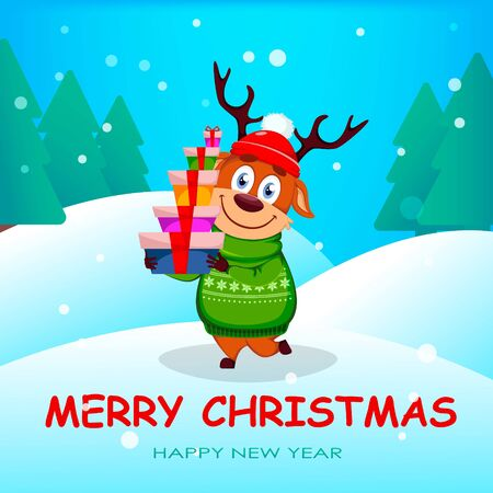 Merry Christmas greeting card with funny reindeer holding gift boxes. Cute cartoon character. Vector illustration with winter forest on background