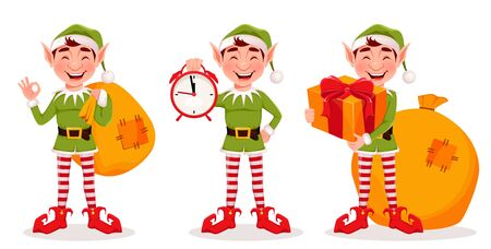 Merry Christmas. Funny Elf, set of three poses. Santa Claus helper Elf. Cartoon character. Vector illustration