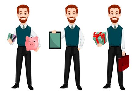 Successful business man, set of three poses. Handsome businessman holds piggy bank and credit cards, holds tablet and holds gift box. Cheerful cartoon character. Vector illustration