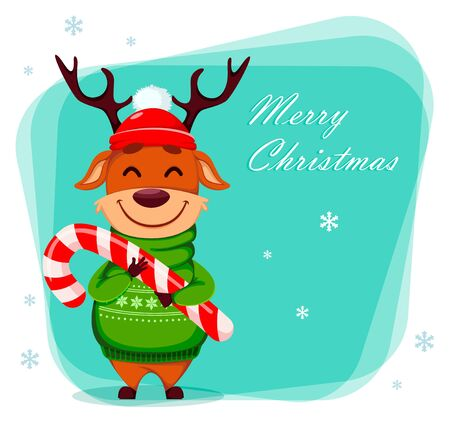 Merry Christmas greeting card with funny reindeer holding candy cane. Cute cartoon character. Vector illustration