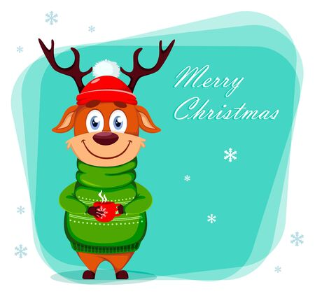 Merry Christmas greeting card with funny reindeer holding a cup of tea. Cute cartoon character. Vector illustration