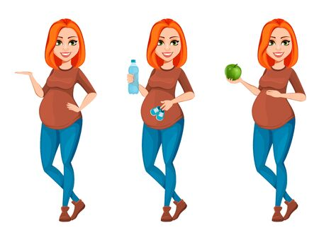 Beautiful pregnant woman, set of three poses. Cheerful pregnant lady cartoon character. Vector illustration