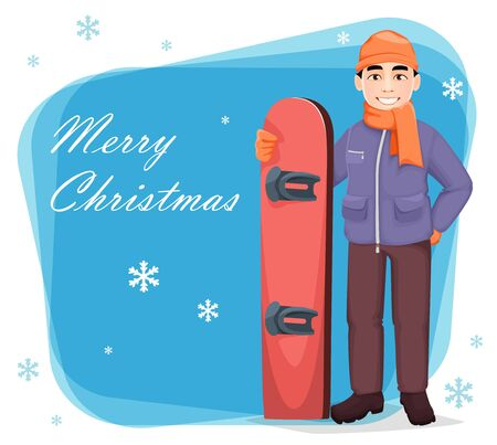 Merry Christmas greeting card with snowboarder. Handsome man with snowboard. Cheerful cartoon character. Vector illustration Illusztráció
