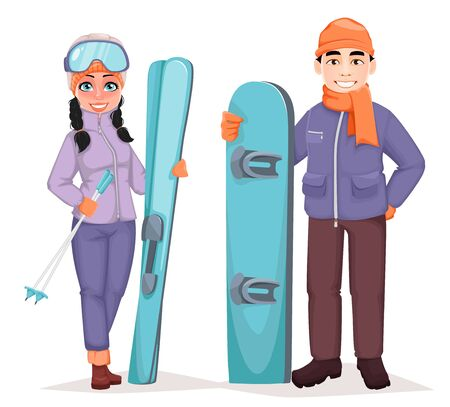 Male snowboarder and female skier. Handsome man with snowboard and beautiful woman with skis. Cheerful cartoon character. Vector illustration Illusztráció
