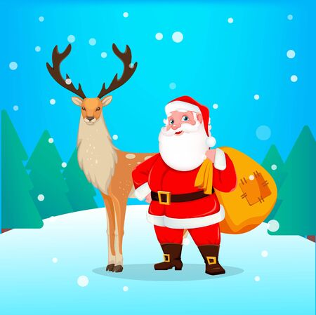 Merry Christmas greeting card with cheerful Santa Claus and reindeer. Santa holding big sack with presents. Vector illustration.