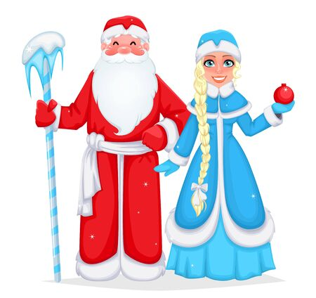 Russian Santa Claus also known as Ded Moroz (Father Frost) and his granddaughter Snegurochka (Snow Maiden). Cheerful cartoon characters. Vector illustration on white background