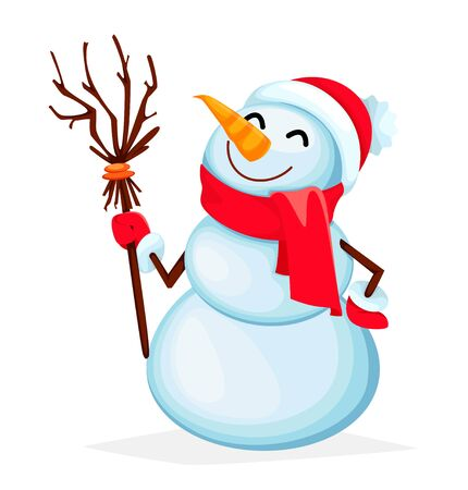 Merry Christmas and Happy New Year. Funny snowman cartoon character. Vector illustration on white background