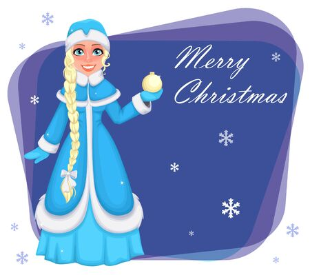 Happy New Year and Merry Christmas. Russian Snegurochka (Snow Maiden). Cheerful cartoon character. Vector illustration