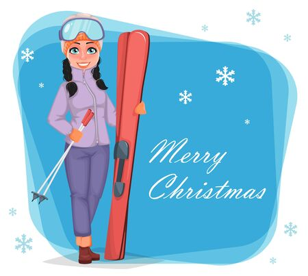 Christmas greeting card with lady skier. Beautiful woman with skis. Cheerful cartoon character. Vector illustration