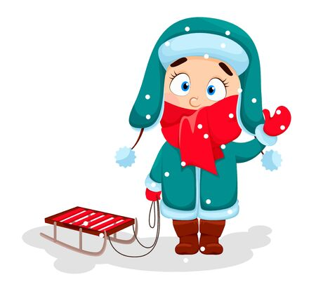 Merry Christmas and Happy New Year. Cute girl in warm clothes standing with sled. Vector illustration on white background Stock Illustratie