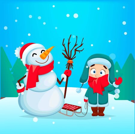Merry Christmas and Happy New Year greeting card. Funny snowman and cute girl in warm clothes standing with sled. Vector illustration  Stock Illustratie