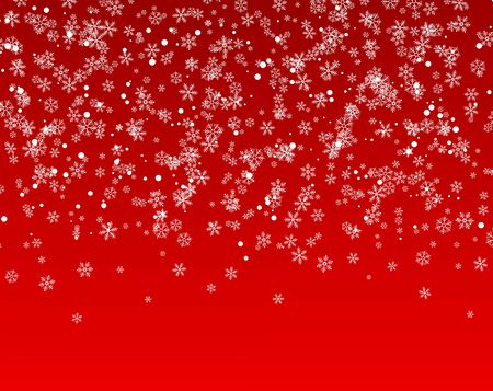 A lot of snowflakes falling from the sky. Abstract background for holiday. Merry Christmas and Happy New Year pattern. Vector illustration on red background