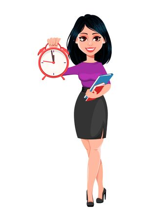 Young beautiful business woman with dark hair holding alarm clock. Cute businesswoman cartoon character. Vector illustration on white background