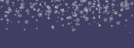 Snowflakes falling from the sky. Abstract background for holiday. Merry Christmas and Happy New Year pattern. Wide vector illustration on purple background