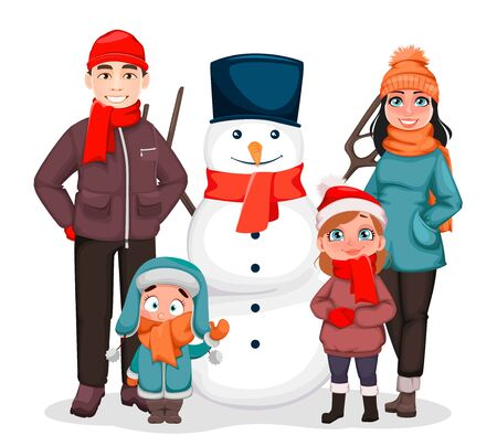 Merry Christmas. Happy family, mother, father and children standing with snowman. Greeting card for winter holidays. Vector illustration on white background