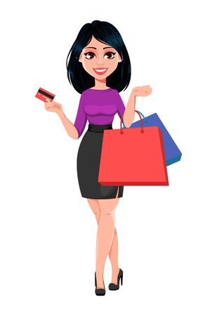 Young beautiful business woman with dark hair holding credit card and shopping bags. Cute businesswoman cartoon character. Vector illustration on white background