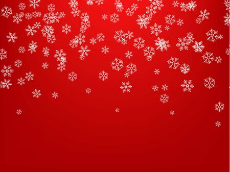 Snowflakes falling from the sky. Abstract background for holiday. Merry Christmas and Happy New Year pattern. Vector illustration on red background