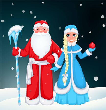 "Russian Santa Claus also known as ""Ded Moroz"" (Father Frost) and his granddaughter Snegurochka (Snow Maiden). Cheerful cartoon characters. Vector illustration"