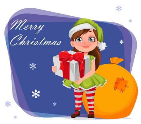 Merry Christmas greeting card. Cheerful girl in costume of elf holding gift box. Kid in Santa Claus helper costume. Cute cartoon character. Vector illustration Illusztráció