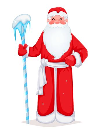 Russian Santa Claus also known as Ded Moroz (Father Frost). Cheerful cartoon character. Vector illustration on white background Stock Illustratie