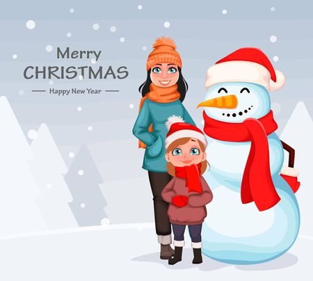 Merry Christmas. Happy mother and daughter standing with snowman. Greeting card for winter holidays. Vector illustration on white background