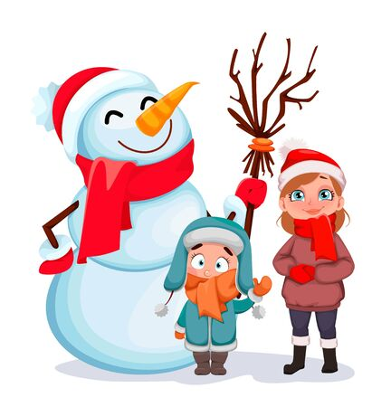 Merry Christmas. Happy children standing with snowman. Greeting card for winter holidays. Vector illustration on white background Ilustracja