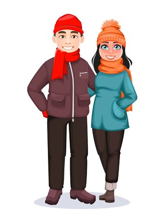 Merry Christmas. Happy man and woman. Greeting card for winter holidays. Vector illustration on white background