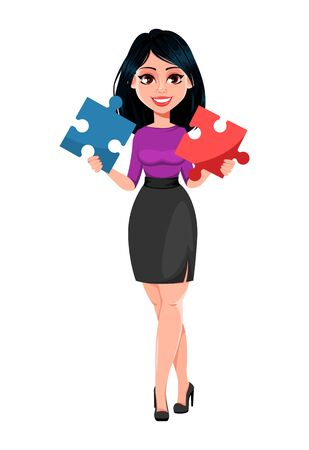 Young beautiful business woman with dark hair holding two pieces of puzzle. Cute businesswoman cartoon character. Vector illustration on white background