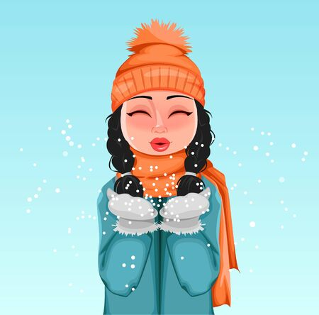 Young cheerful girl in winter clothes playing with snow. Beautiful woman cartoon character. Vector illustration.