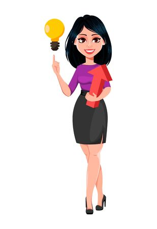 Young beautiful business woman with dark hair having a good idea. Cute businesswoman cartoon character. Vector illustration on white background