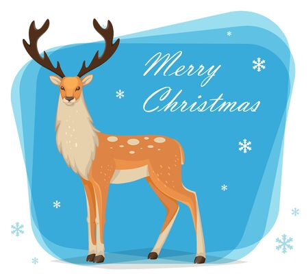 Greeting card with beautiful male reindeer with big antlers. Cartoon deer. Vector illustration Illusztráció