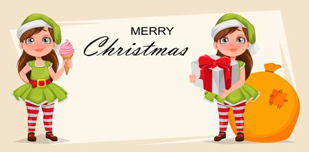Merry Christmas greeting card. Cheerful girl in costume of elf. Kid in Santa Claus helper costume, set of two poses. Cute cartoon character. Vector illustration on white background Ilustracja