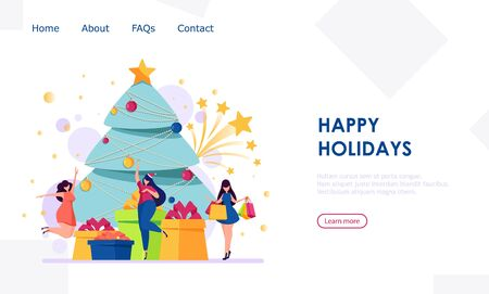 Merry Christmas and Happy New Year. People having fun near Christmas tree. Vector illustration usable for landing page, site.