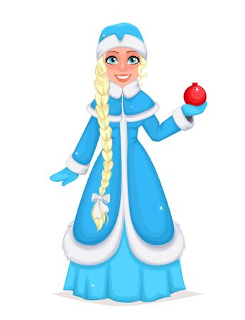 Happy New Year and Merry Christmas. Russian Snegurochka (Snow Maiden). Cheerful cartoon character. Vector illustration on white background