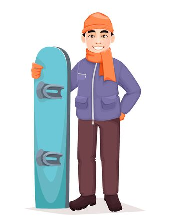 Snowboarder. Handsome man with snowboard. Cheerful cartoon character. Vector illustration on white background