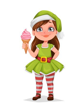 Merry Christmas. Cheerful girl in costume of elf. Kid in Santa Claus helper costume. Cute cartoon character. Vector illustration on white background