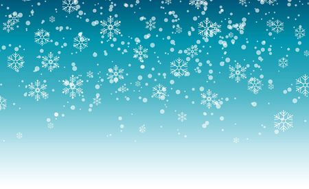 Snowflakes falling from the sky. Abstract background for holiday. Merry Christmas and Happy New Year pattern. Vector illustration on blue background