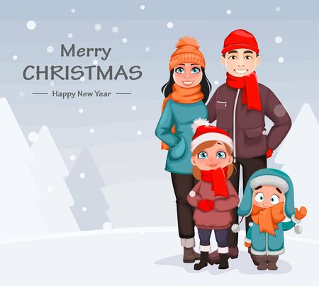 Merry Christmas. Happy family, mother, father and children. Greeting card for winter holidays. Vector illustration on snowy background