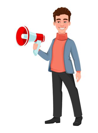 Successful business man. Handsome businessman holding loudspeaker. Cheerful cartoon character. Vector illustration on white background