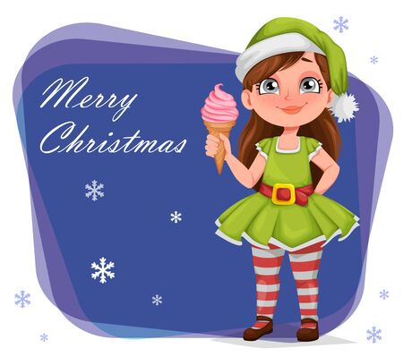 Merry Christmas greeting card. Cheerful girl in costume of elf. Kid in Santa Claus helper costume. Cute cartoon character. Vector illustration Stock Illustratie