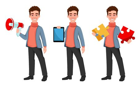 Successful business man, set of three poses. Handsome businessman holding loudspeaker, holding tablet and holding puzzle. Cheerful cartoon character. Vector illustration on white background