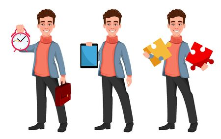 Successful business man, set of three poses. Handsome businessman holding alarm clock, holding tablet and holding puzzle. Cheerful cartoon character. Vector illustration on white background
