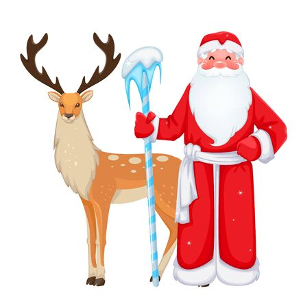 Russian Santa Claus also known as Ded Moroz (Father Frost) stands near deer. Cheerful cartoon character. Vector illustration on white background