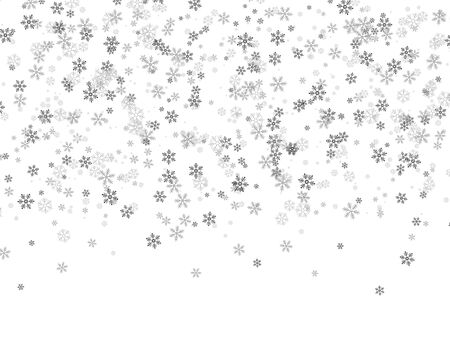 Snowflakes falling from the sky. Abstract background for holiday. Merry Christmas and Happy New Year pattern. Vector illustration on white background Illusztráció