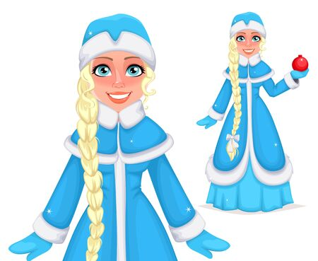 Happy New Year and Merry Christmas. Russian Snegurochka (Snow Maiden), two poses. Cheerful cartoon character. Vector illustration Illusztráció