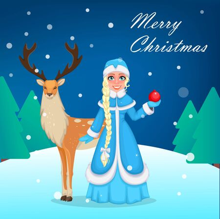 Happy New Year and Merry Christmas greeting card. Russian Snegurochka (Snow Maiden) and cute reindeer, two poses. Cheerful cartoon character. Vector illustration Illusztráció