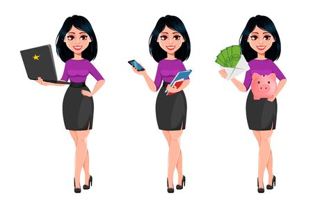 Young beautiful business woman with dark hair, set of three poses. Cute businesswoman cartoon character holding laptop, holding smartphone and holding piggy bank. Vector illustration