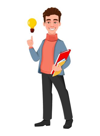 Successful business man. Handsome businessman having a good idea. Cheerful cartoon character. Vector illustration on white background